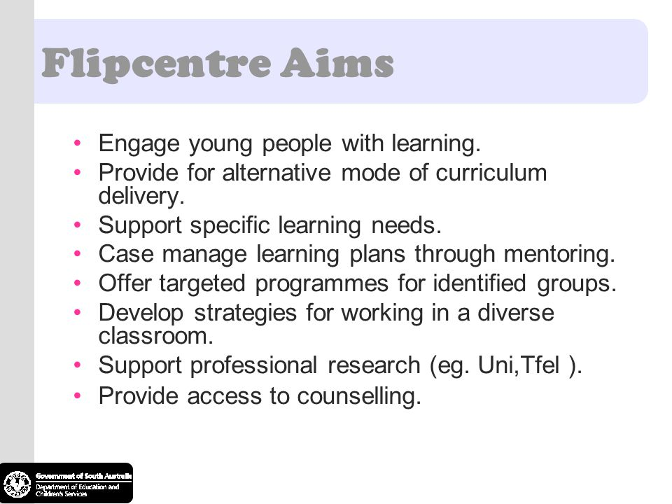 Flipcentre Aims Engage young people with learning.