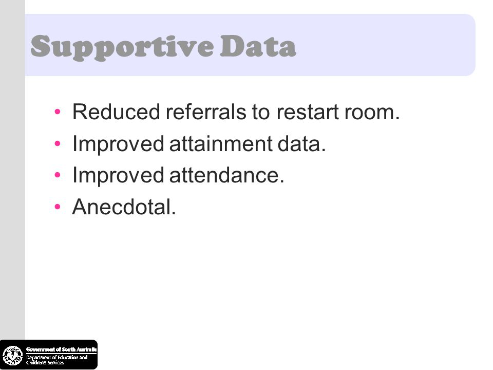 Supportive Data Reduced referrals to restart room.