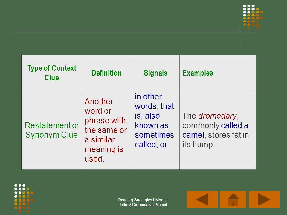 Restatement or Synonym Clue