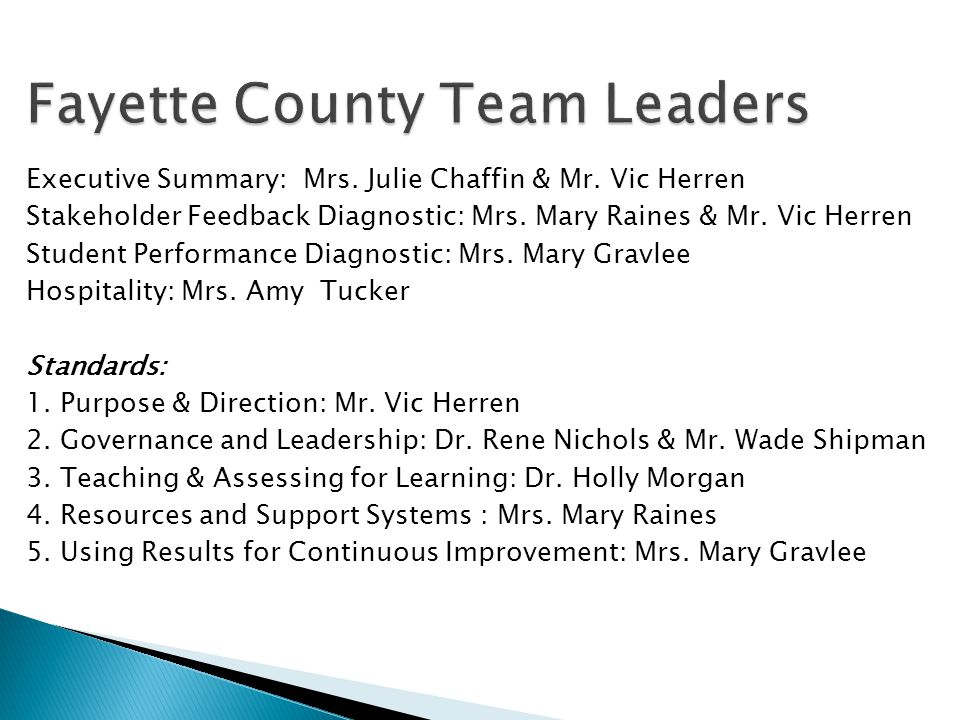 Fayette County Team Leaders