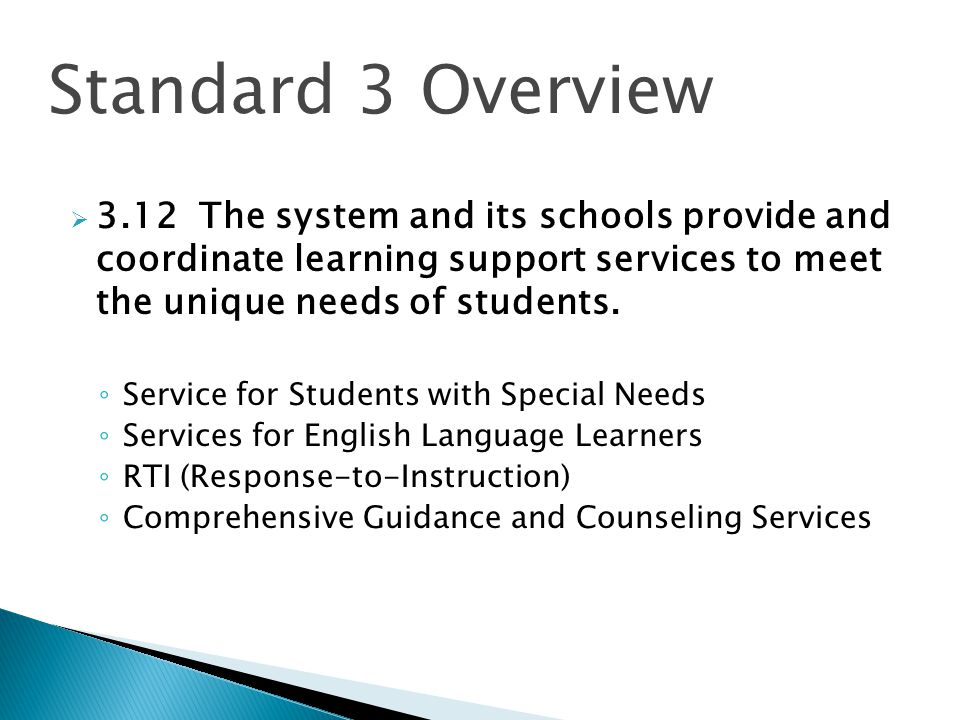 Standard 3 Overview 3.12 The system and its schools provide and coordinate learning support services to meet the unique needs of students.