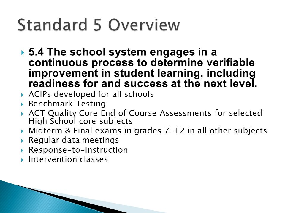 Standard 5 Overview