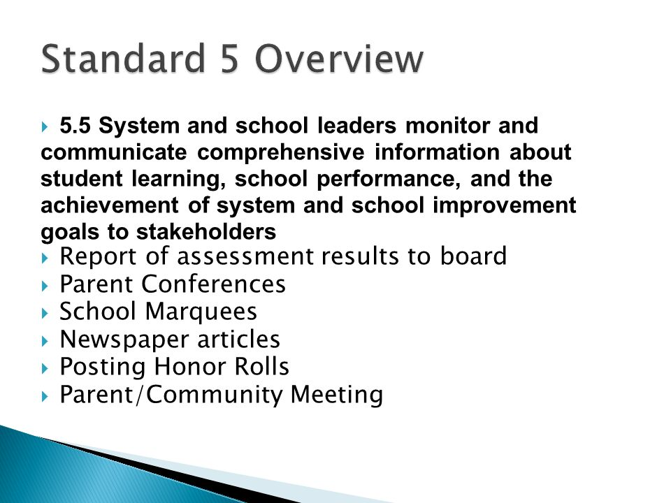 Standard 5 Overview Report of assessment results to board