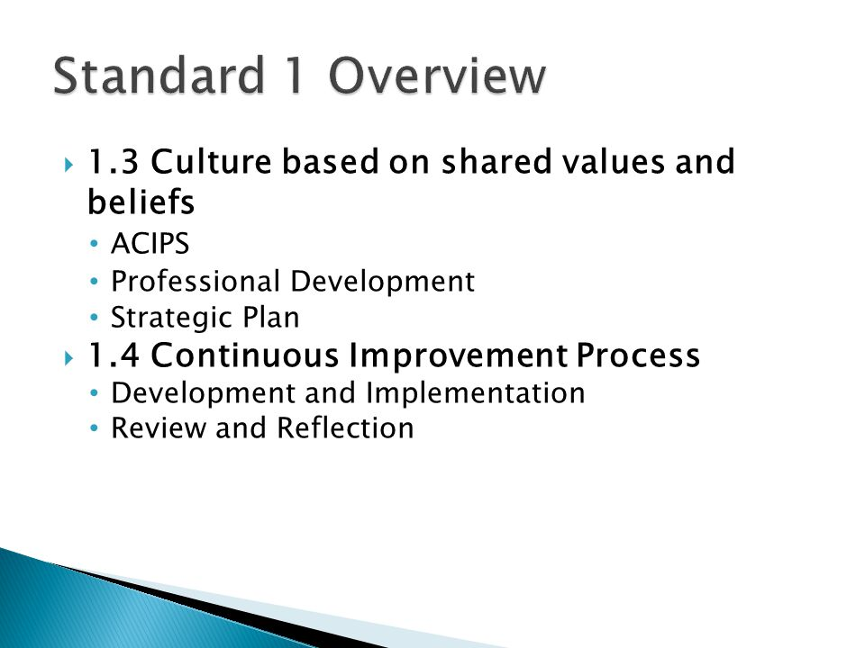 Standard 1 Overview 1.3 Culture based on shared values and beliefs