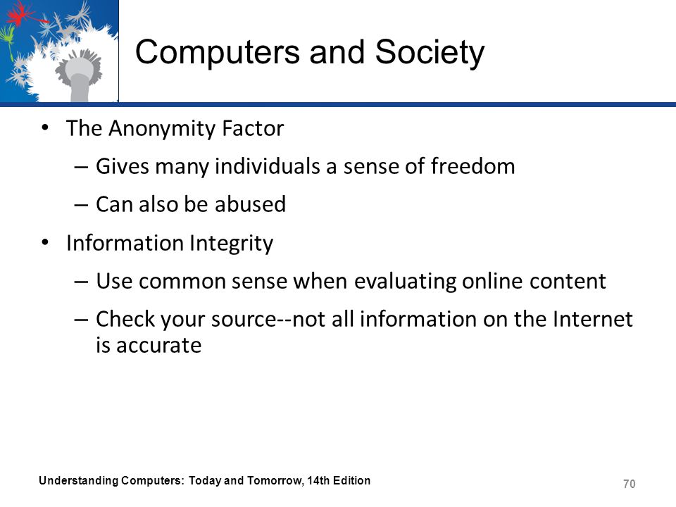 Computers and Society The Anonymity Factor