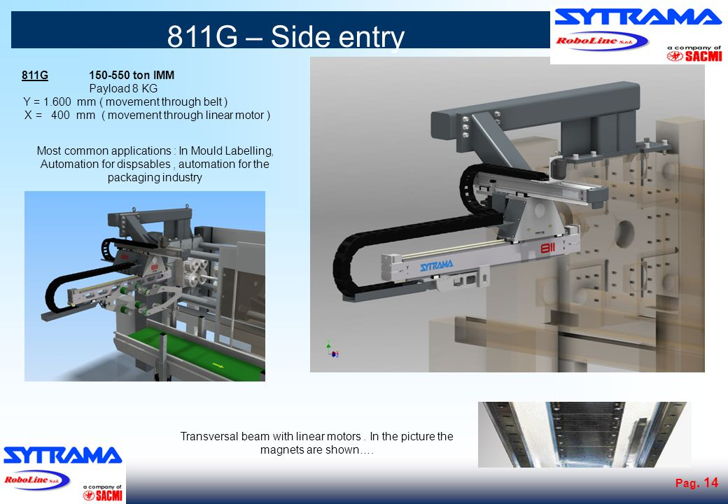 811G – Side entry – Stacking arm