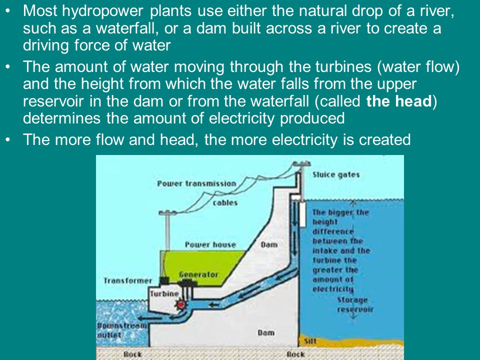 Most hydropower plants use either the natural drop of a river, such as a waterfall, or a dam built across a river to create a driving force of water