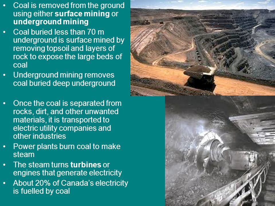 Coal is removed from the ground using either surface mining or underground mining