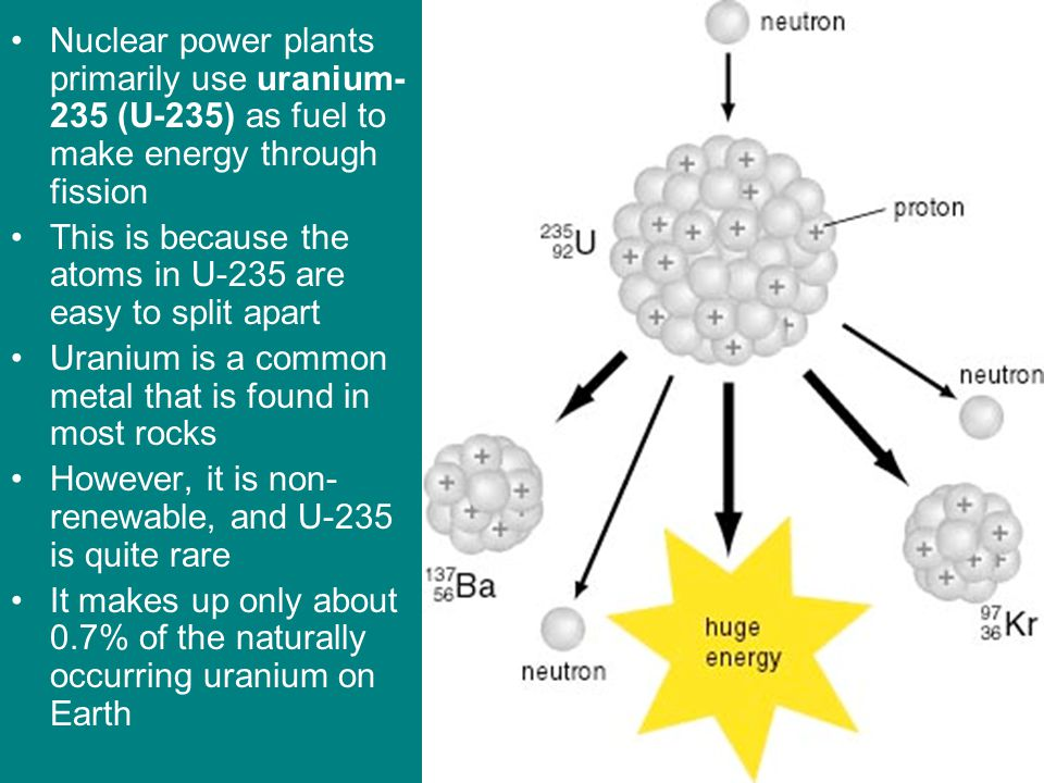 Nuclear power plants primarily use uranium-235 (U-235) as fuel to make energy through fission