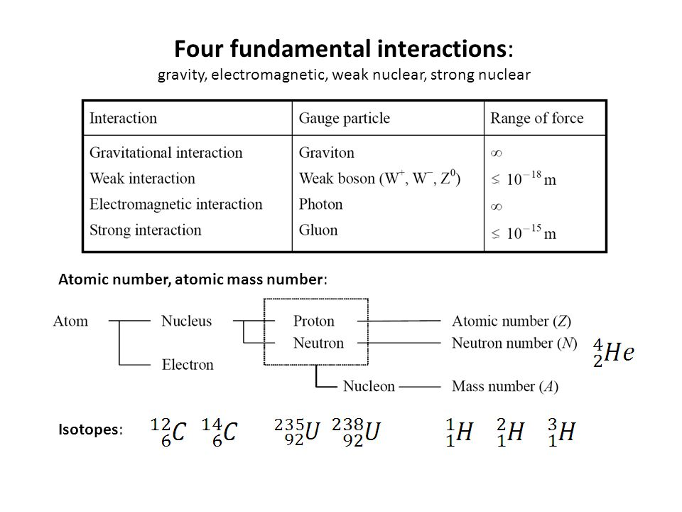 Four fundamental interactions: