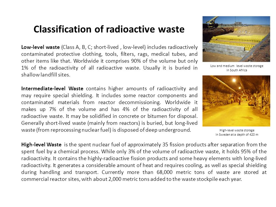 Classification of radioactive waste