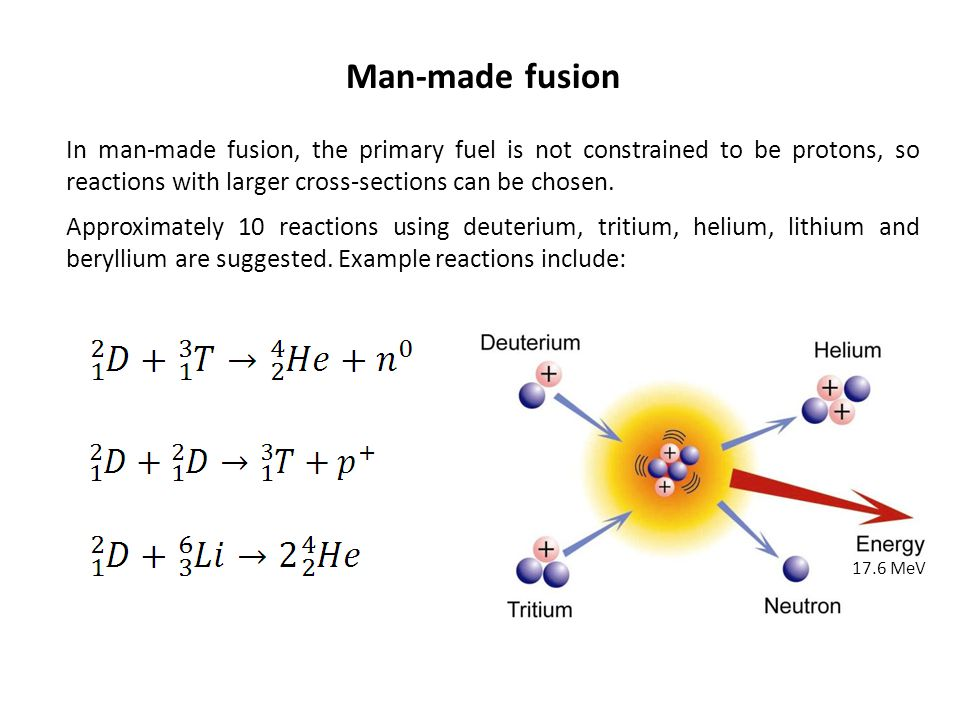 Man-made fusion In man-made fusion, the primary fuel is not constrained to be protons, so reactions with larger cross-sections can be chosen.