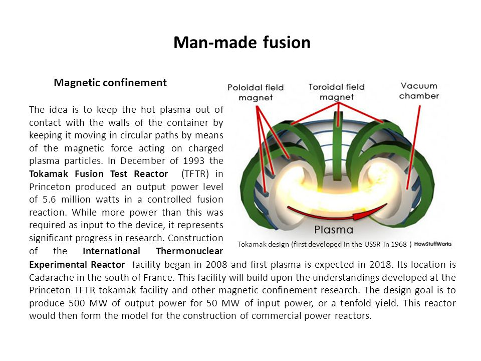 Man-made fusion Magnetic confinement