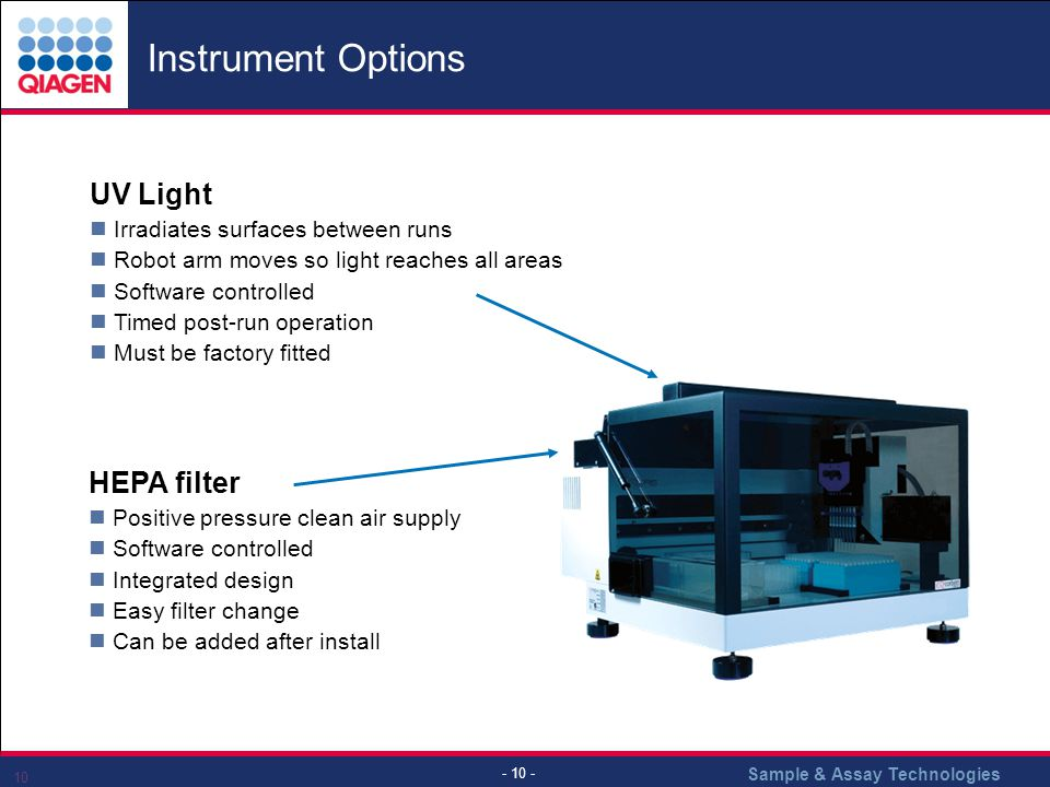 Instrument Options UV Light HEPA filter