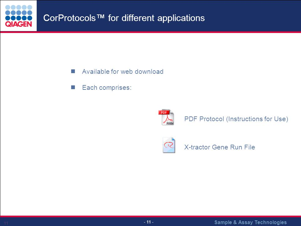 CorProtocols™ for different applications