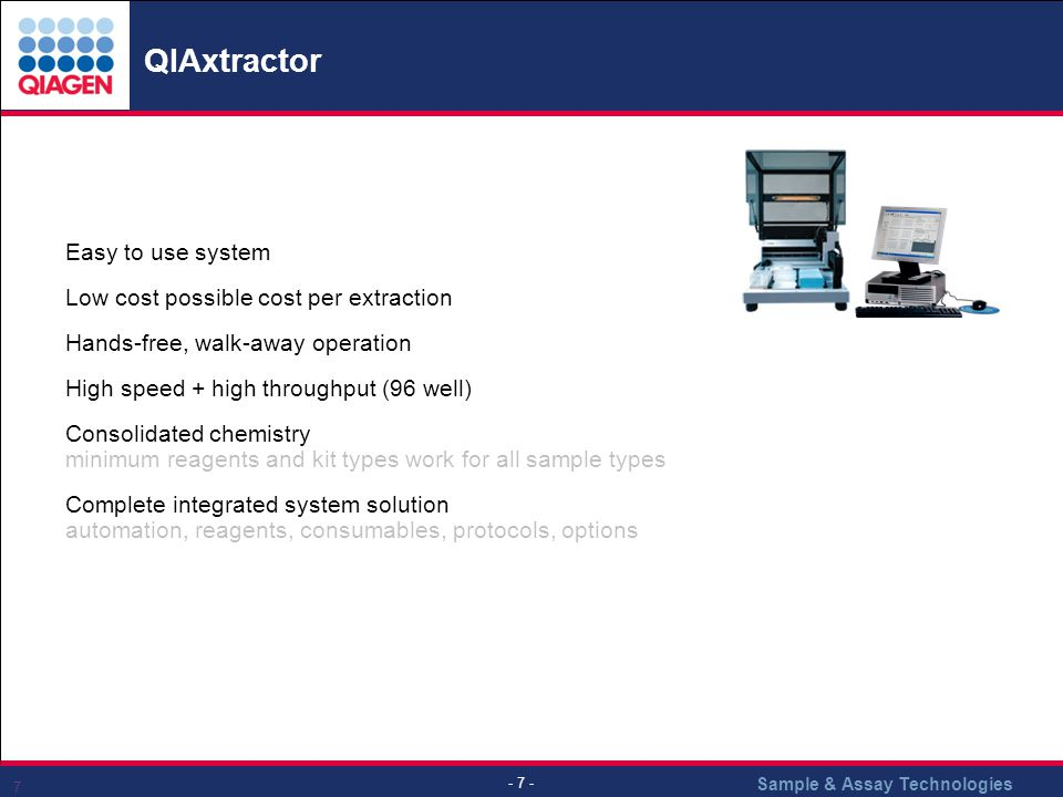 QIAxtractor Easy to use system Low cost possible cost per extraction