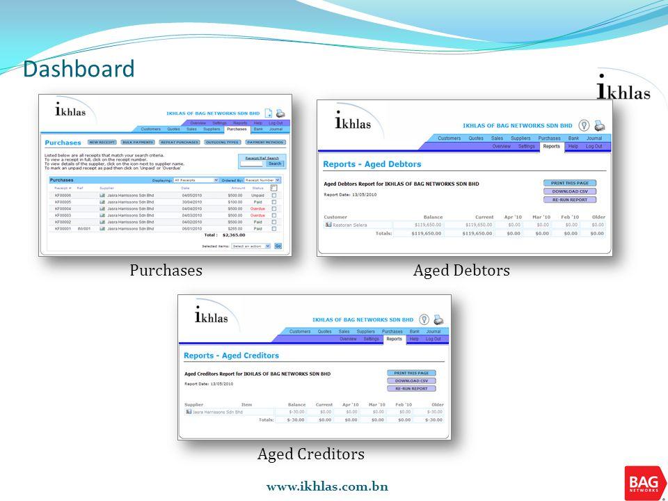 Reports Activity Report Aged Creditors and Debtors