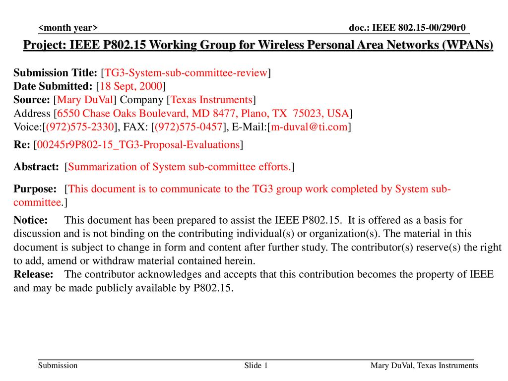 <month year> Project: IEEE P Working Group for Wireless Personal Area Networks (WPANs) Submission Title: [TG3-System-sub-committee-review]