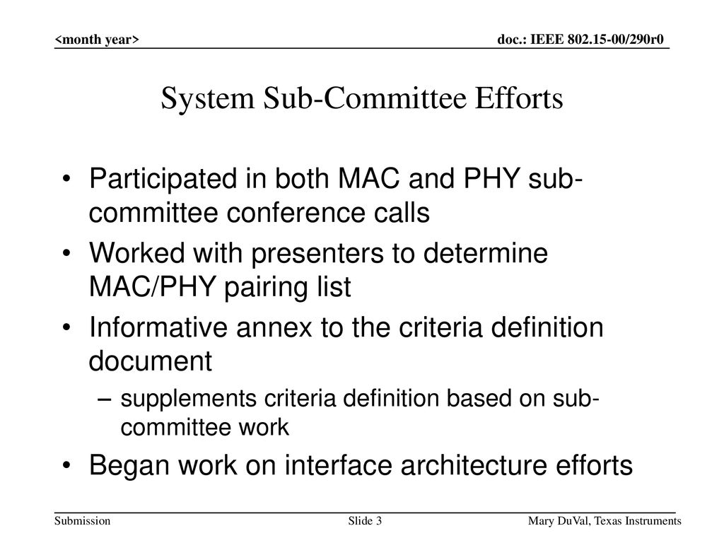 System Sub-Committee Efforts