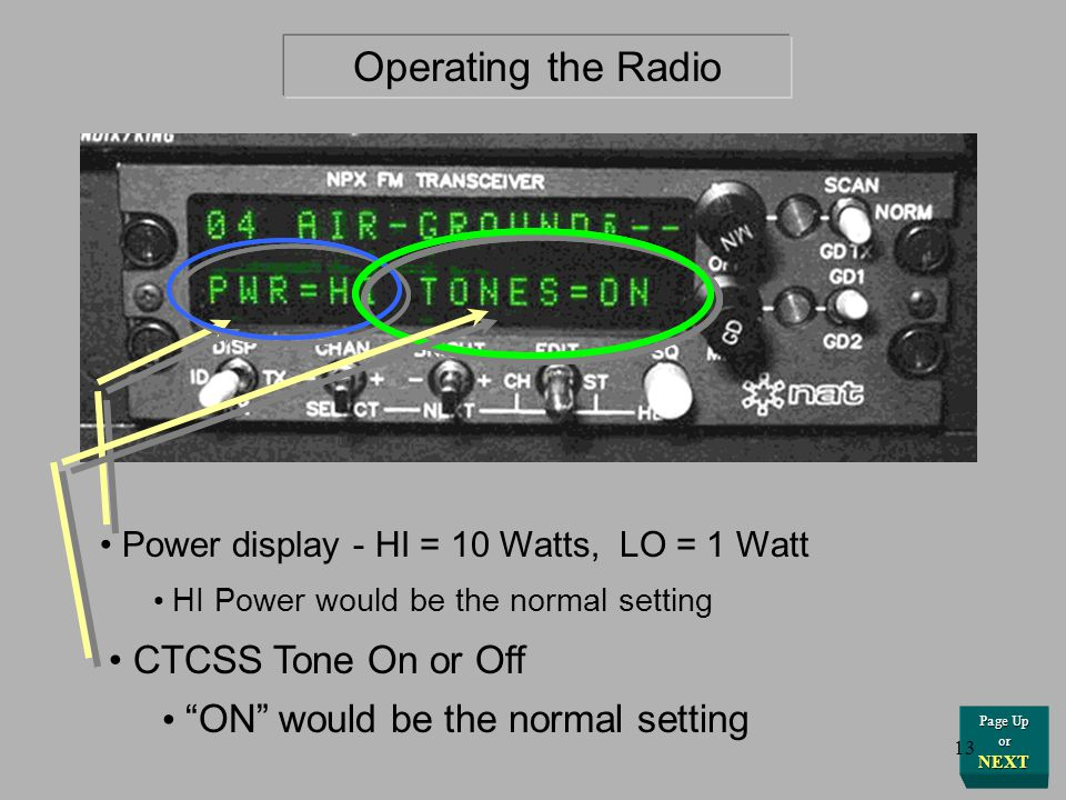 Operating the Radio Getting Started CTCSS Tone On or Off