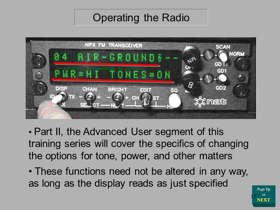 Operating the Radio