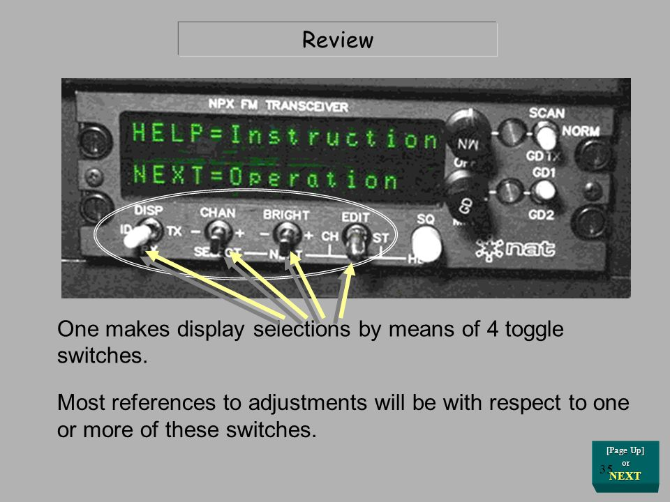 One makes display selections by means of 4 toggle switches.