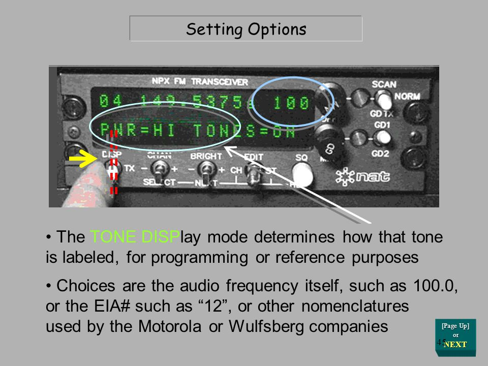 The next changeable option is the TONE DISPlay.