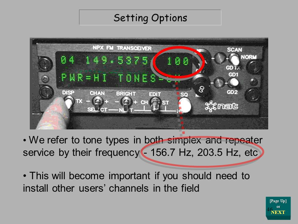 Setting Options We refer to tone types in both simplex and repeater service by their frequency - 156.7 Hz, 203.5 Hz, etc.