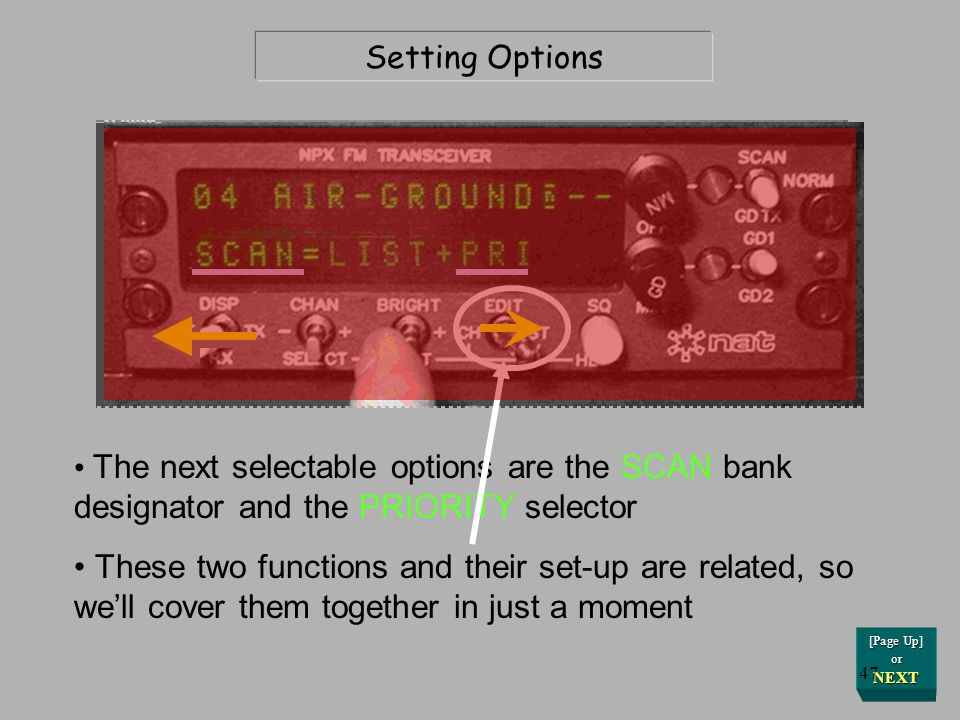 Setting Options The next selectable options are the SCAN bank designator and the PRIORITY selector.