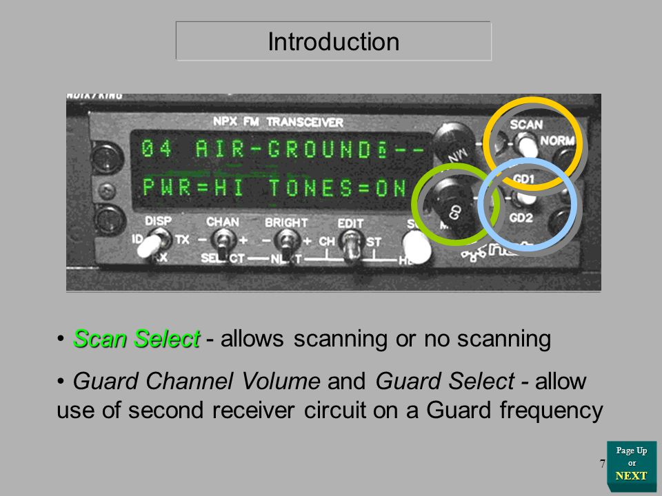 Introduction Scan Select - allows scanning or no scanning