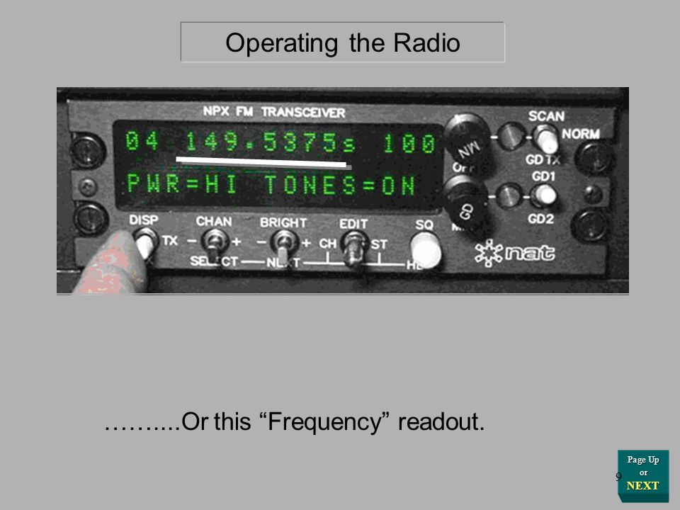 Operating the Radio ……....Or this Frequency readout. Page Up or NEXT