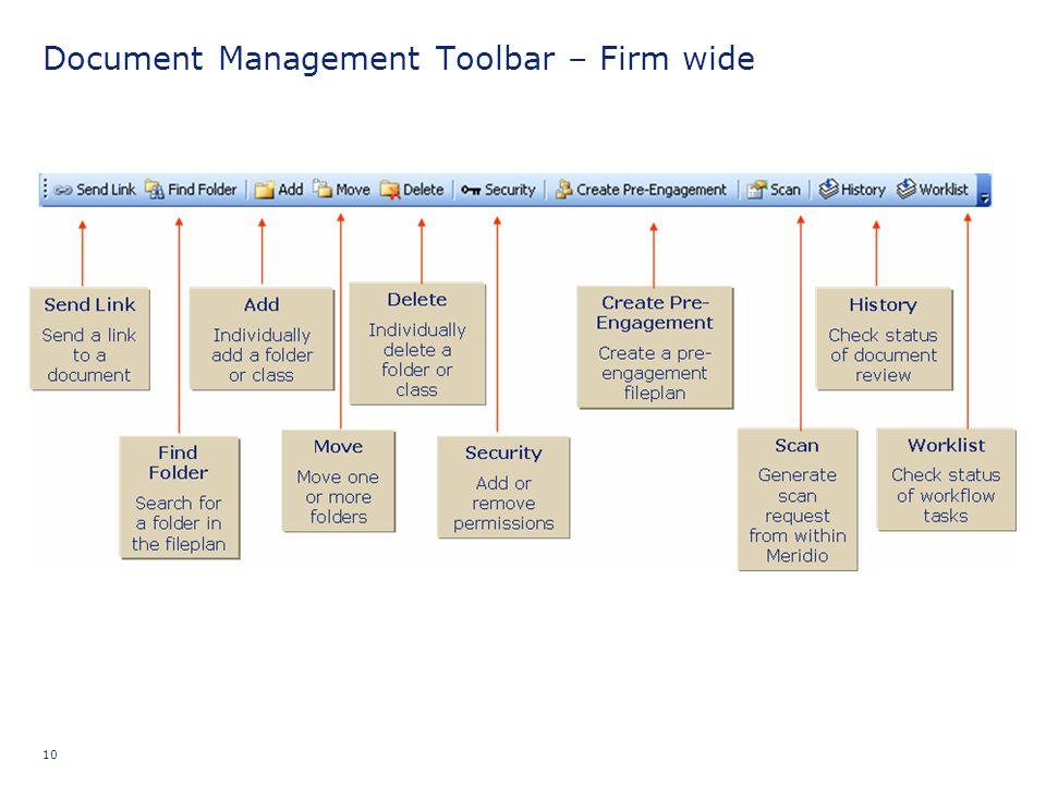Document Management Toolbar – Firm wide