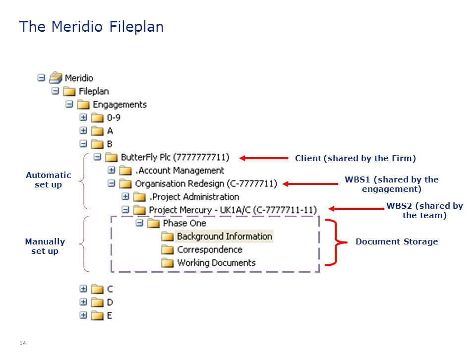 The Meridio Fileplan Client (shared by the Firm) Automatic set up