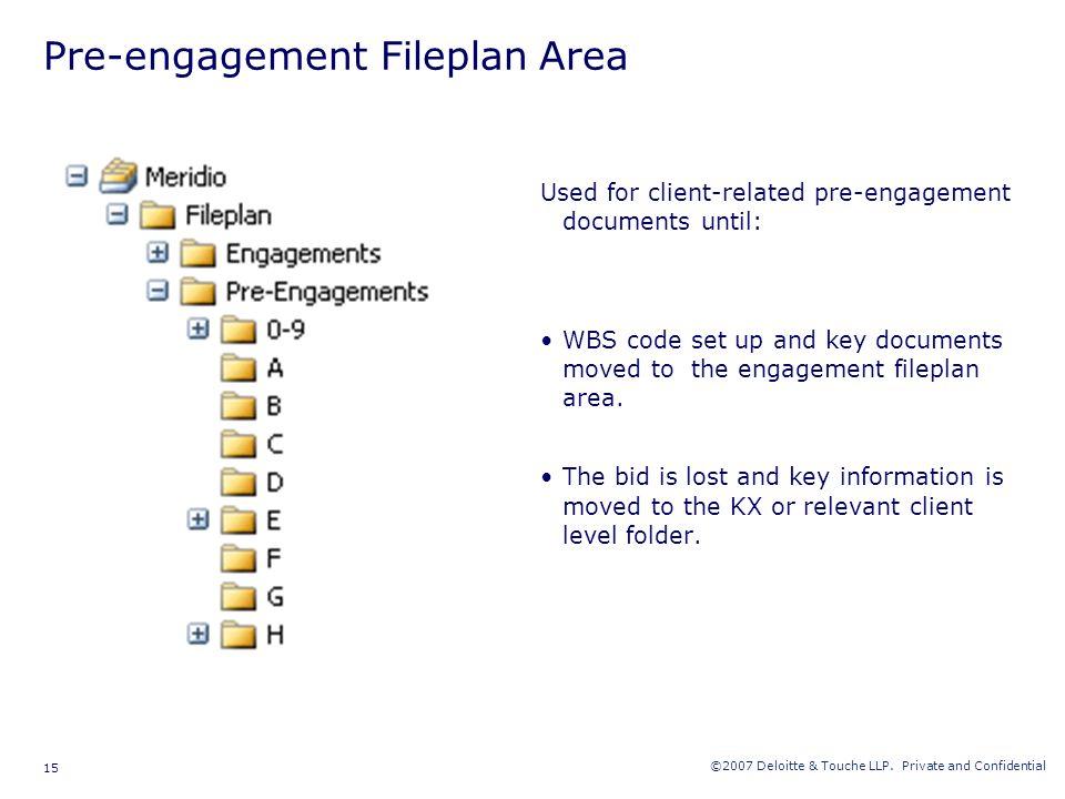 Pre-engagement Fileplan Area