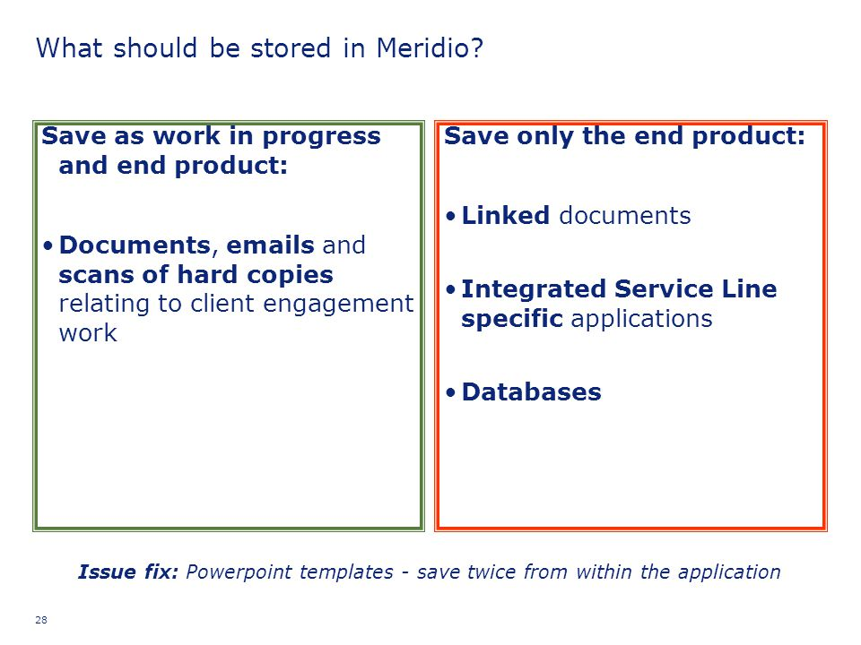 What should be stored in Meridio