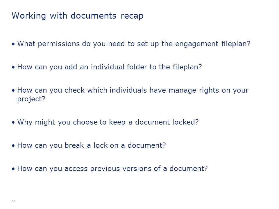 Working with documents recap