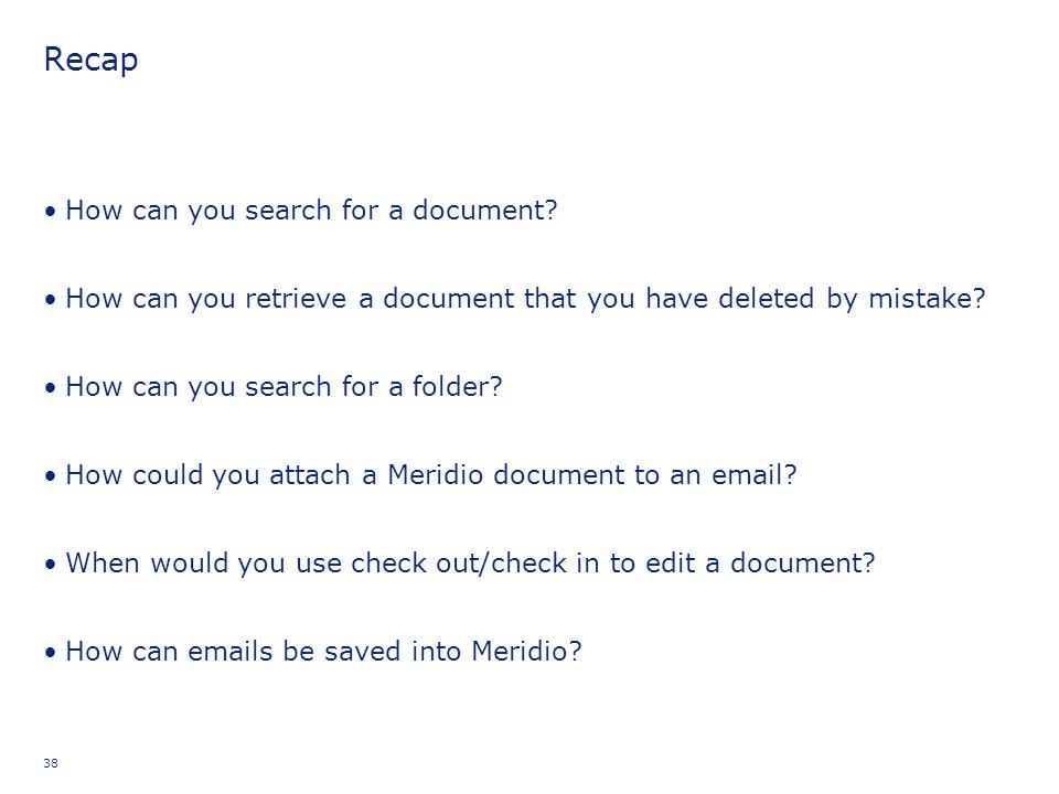 Recap How can you search for a document