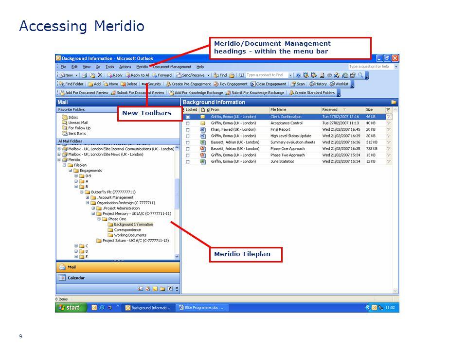 Accessing Meridio Trainer: