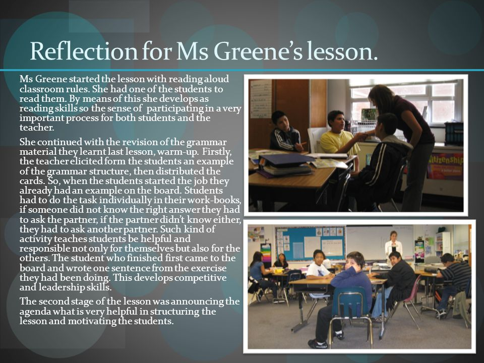 Reflection for Ms Greene's lesson.