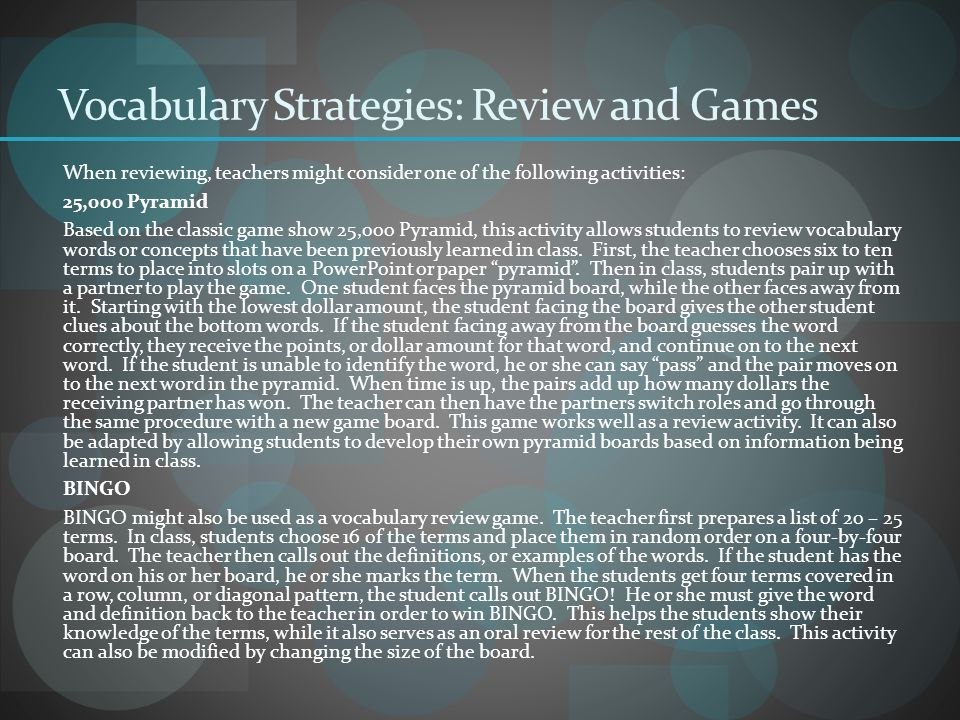 Vocabulary Strategies: Review and Games