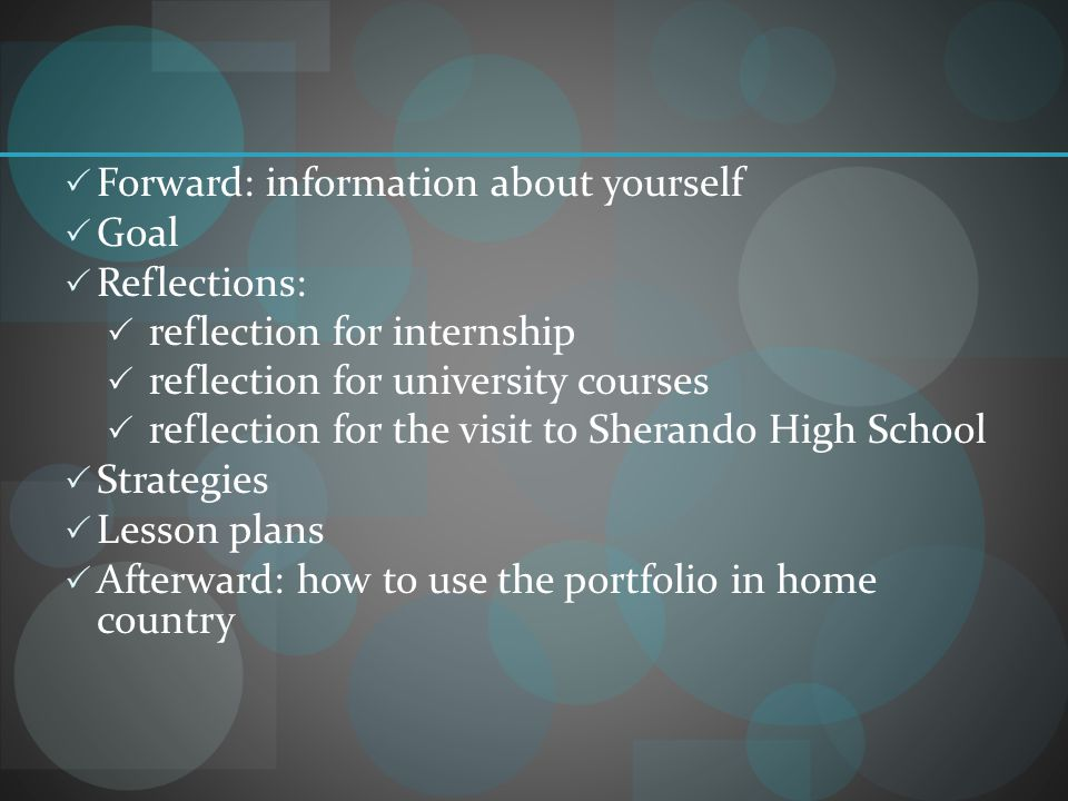 Forward: information about yourself