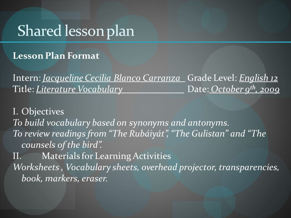 Shared lesson plan