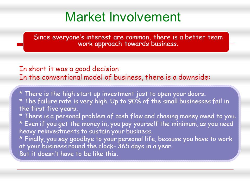 Market Involvement In short it was a good decision