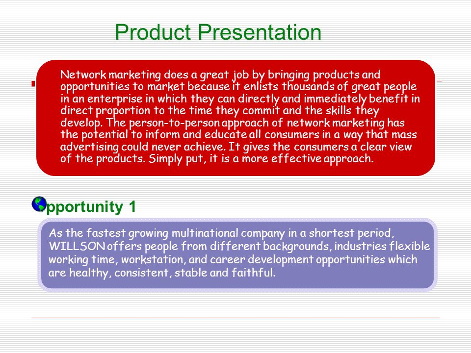 Product Presentation Opportunity 1