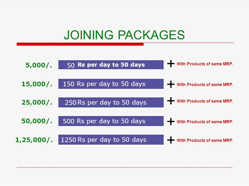 + + + + + JOINING PACKAGES 5,000/. 50 15,000/. Rs per day to 50 days