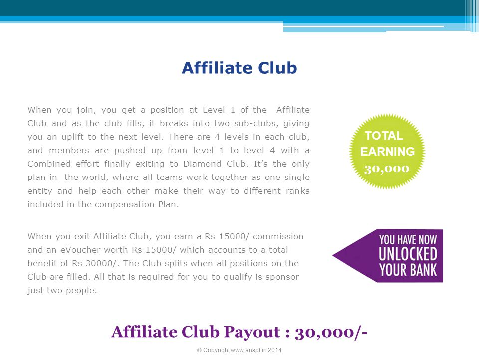 Affiliate Club Payout : 30,000/-