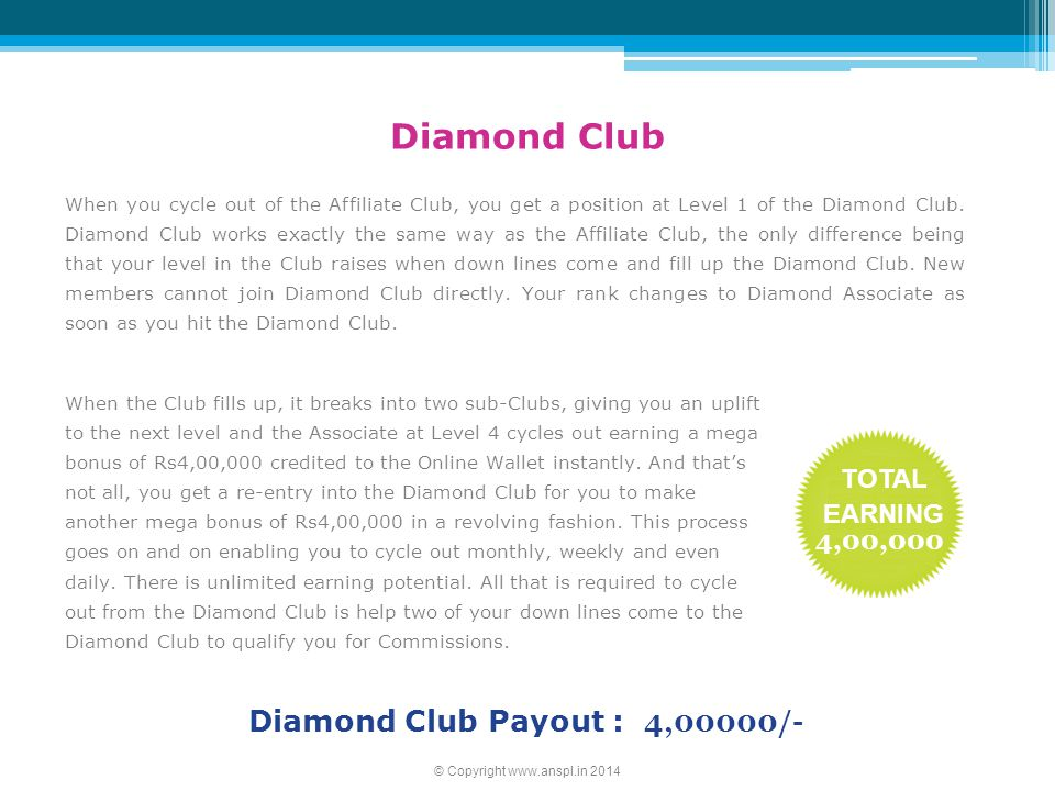 Diamond Club Payout : 4,00000/-