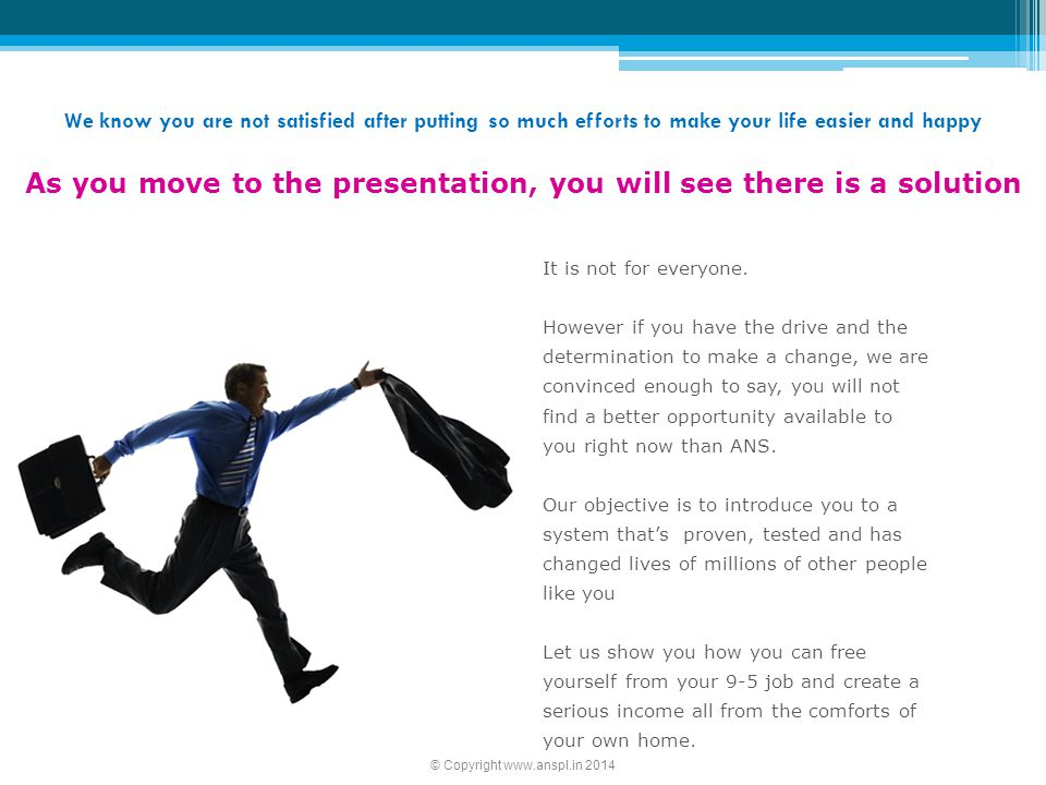 As you move to the presentation, you will see there is a solution