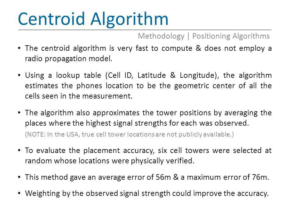 Centroid Algorithm Methodology   Positioning Algorithms