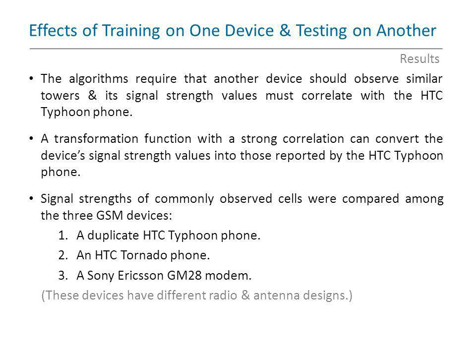 Effects of Training on One Device & Testing on Another
